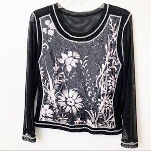 Womens Top Black Sheer sleeves pink floral print